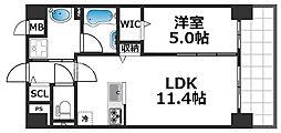 グランパシフィック花園Luxe 9階1LDKの間取り
