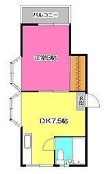 サニーハイツ藤沢[2階]の間取り