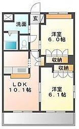 コートヴェール中島田[205号室]の間取り