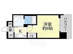 エスライズ北堀江スワン 7階1Kの間取り