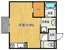 京阪石山坂本線 中ノ庄駅 徒歩2分の賃貸アパート 1階1Kの間取り