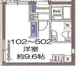 東京メトロ東西線 木場駅 徒歩8分の賃貸マンション 2階ワンルームの間取り
