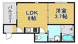 stage千舟 3階1LDKの間取り