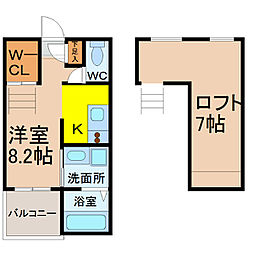 愛知県名古屋市中村区大秋町1丁目の賃貸アパートの間取り