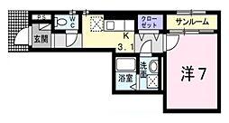 愛知県名古屋市瑞穂区大喜新町4丁目の賃貸アパートの間取り