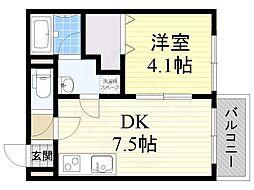 メゾンドリーム藤井寺 3階1DKの間取り