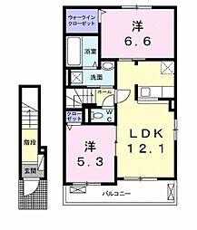 Lien Kurinoki B[203号室]の間取り