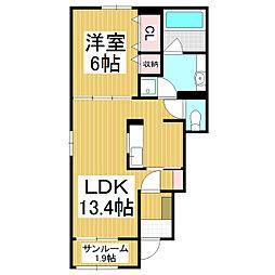 JR大糸線 細野駅 徒歩9分の賃貸アパート 1階1LDKの間取り