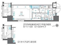 ZOOM秋葉原EAST 6階1Kの間取り