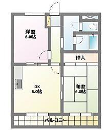 愛知県名古屋市名東区社が丘1丁目の賃貸アパートの間取り