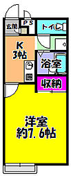 サンホーム富田林 1階1Kの間取り