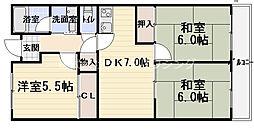 コートロイヤル 4階3DKの間取り