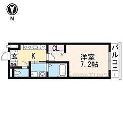 京阪宇治線 木幡駅 徒歩3分の賃貸マンション 1階1Kの間取り