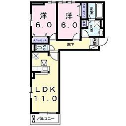 ウィステリア B[1階]の間取り