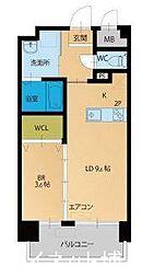 福岡市地下鉄箱崎線 箱崎宮前駅 徒歩3分の賃貸マンション 9階1LDKの間取り