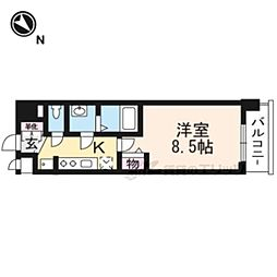 ベラジオ京都一乗寺II405号室 4階1Kの間取り