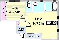 ニューライフみさき 3階1LDKの間取り