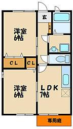 メゾンソレイユII[1階]の間取り