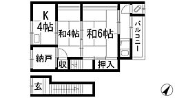 兵庫県伊丹市松ケ丘4丁目の賃貸アパートの間取り