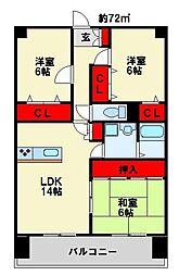 アビタシオン オキ[8階]の間取り