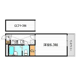 大阪府大阪市東成区東今里1丁目の賃貸マンションの間取り