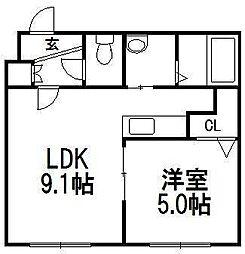 ローヤルハイツ栄通1丁目B棟[103号室]の間取り