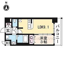 京都市営烏丸線 十条駅 徒歩5分の賃貸マンション 6階1LDKの間取り