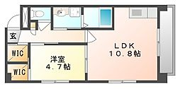 岡山県岡山市北区表町2丁目の賃貸マンションの間取り