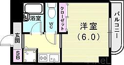 神戸市西神・山手線 伊川谷駅 徒歩7分の賃貸マンション 4階1Kの間取り