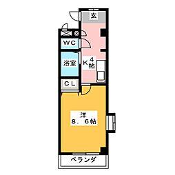 シャローム八田[1階]の間取り