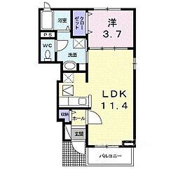 大阪府河内長野市本町の賃貸アパートの間取り