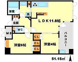 プロパレス江坂公園ロマネスタ 2階2LDKの間取り