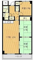 JR東海道・山陽本線 岸辺駅 徒歩15分の賃貸マンション 4階3LDKの間取り