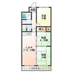 ニューナイスマンション[3階]の間取り