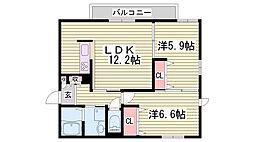 兵庫県加古川市野口町野口の賃貸マンションの間取り