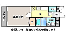 京都府京都市上京区社突抜町の賃貸アパートの間取り