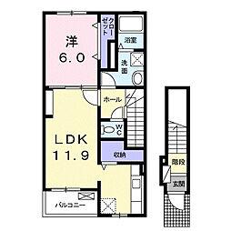 三ツ島2丁目アパート[202号室]の間取り