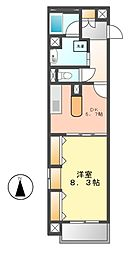ヴォーヌングケイ(Wohnung K)[8階]の間取り