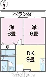 バス 松田下車 徒歩3分の賃貸アパート 2階2DKの間取り