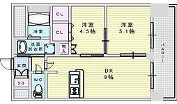 Osaka Metro御堂筋線 西中島南方駅 徒歩9分の賃貸マンション 2階2DKの間取り