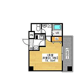 金太郎ヒルズ243 松ケ谷 8階1Kの間取り