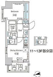 東京メトロ東西線 門前仲町駅 徒歩5分の賃貸マンション 9階1DKの間取り