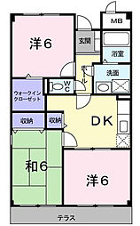 ジャンピュールII番館 4階3DKの間取り