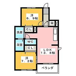 サンローズ旭 C棟[2階]の間取り