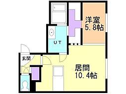 Carrera Tsukisamu 2nd (カレラ ツキサ 3階1LDKの間取り
