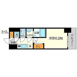 エスリード新大阪ヴェルデ 8階1Kの間取り