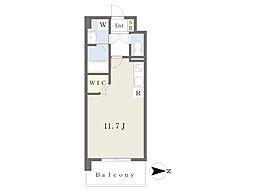 JR鹿児島本線 崇城大学前駅 徒歩4分の賃貸マンション 6階ワンルームの間取り
