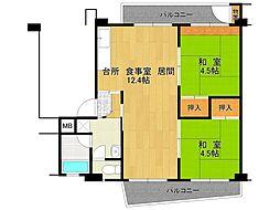 UR逆瀬川住宅[20-203号室]の間取り