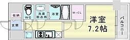 JR大阪環状線 野田駅 徒歩9分の賃貸マンション 5階1Kの間取り