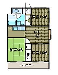 ヴィーウェルマンション[2階]の間取り